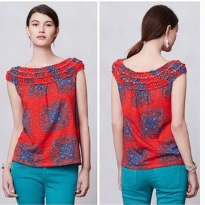 Meadow Rue Red and Blue Paisley Print Blouse